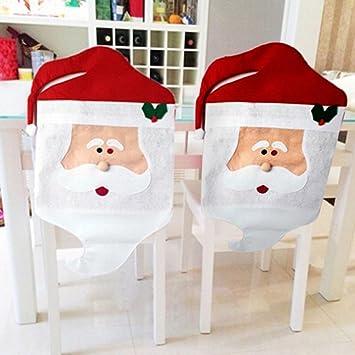 Zogin Fundas decorativas navideños para sillas con respaldo para la cena y fiesta de Nochebuena - 6 piezas: Amazon.es: Hogar