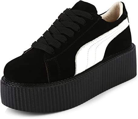 RoseG Femmes Creepers Cuir Lacets Baskets Chaussures