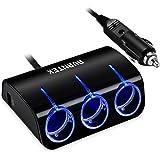 AVANTEK Chargeur allume Cigare Multiprise Universel 12V/24V DC avec Double port USB 2,1A + 1A éclairage bleu Fusible de protection