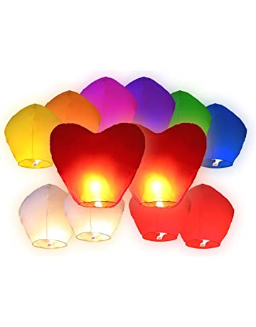 Juego de 12 farolillos flotantes, multicolor, incluye 2 unidades en forma de corazón rojo