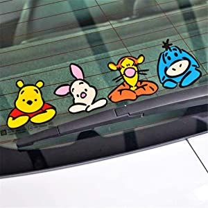 Winnie The Pooh Wall Decal Car Accessories Onlookers Funny Winnie Pooh Sticker Decal for Motorcycle Skateboard Chevrolet Car Stickers(10