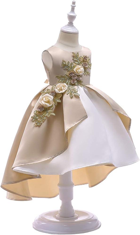 COLOV 2-9 Years Flower Girls Dress Wedding Bridesmaid Formal Midi Dresses