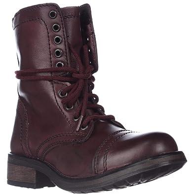 2d559cccfea Amazon.com   Steve Madden Tropa2 Combat Boots - Wine, 5.5 M US   Shoes