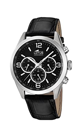 Lotus Reloj Cronógrafo para Hombre de Cuarzo con Correa en Cuero 18155/2: Amazon.es: Relojes
