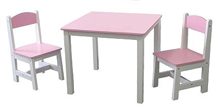 habeig® Niños Mesa + 2 sillas infantiles Color Rosa IDIMEX mesa Lätt ...