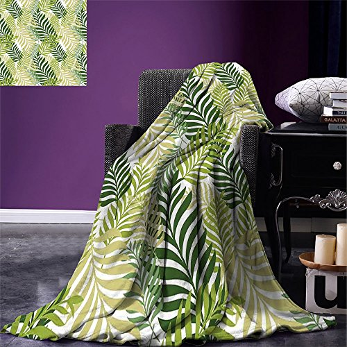 smallbeefly Leaves Throw Blanket Tropical Exotic Palm Tree Leaves Natural Botanical Spring Summer Contemporary Graphic Warm Microfiber All Season Blanket for Bed or Couch Green Ecru