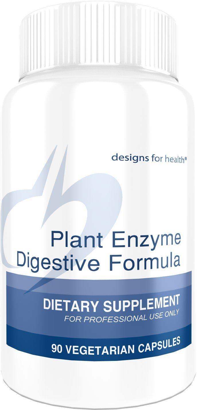 Designs for Health Plant Enzyme Digestive Formula - Vegetarian Digestive Enzymes for Gut Health Support with Protease + Lipase + Amylase (90 Capsules)