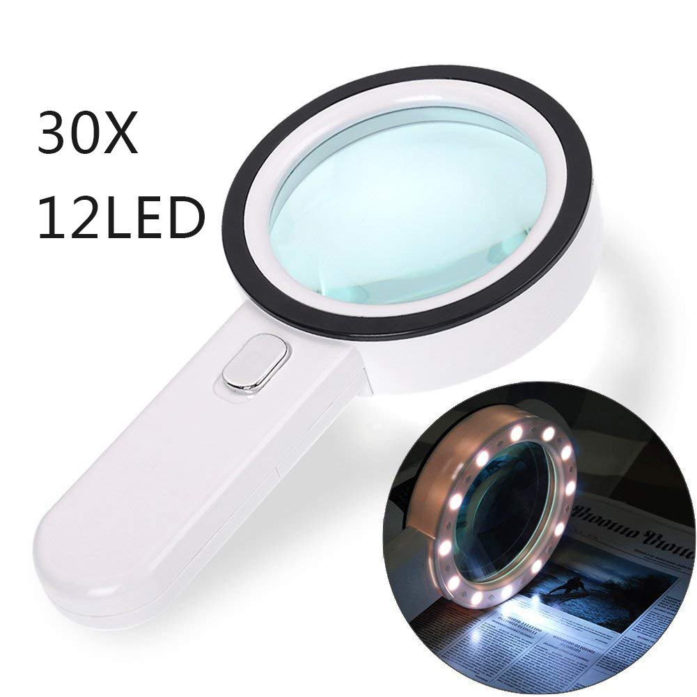 Magnifying Glass 30X, Large Magnifier with Light, LED Illuminated & Handheld, Premium High Power Magnify Glass for Reading Books, Seniors, Macular Degeneration, Stamps by GEMWON