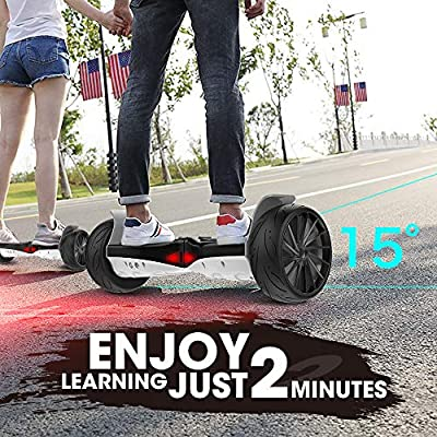 City Cruiser Hoverboard,Electric Racing Tires Smart Self Balancing Scooter Hoverboard, Built-in Bluetooth Speakers - UL2272 Certified Black White: Sports & Outdoors
