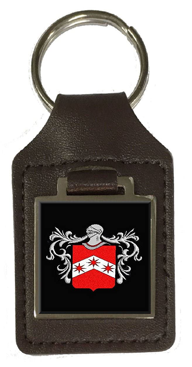 Carr Family Crest Surname Coat Of Arms Brown Leather Keyring Engraved
