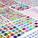 Rhinestone Stickers Self-Adhesive, 1141Pcs Gems for Crafts Bling Jewel Crystal Stickers for DIY Craft Nail Body Makeup Festival