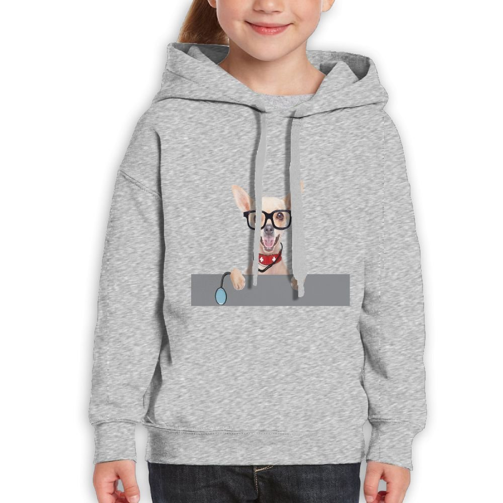 GLSEY Dog Wearing Glasses Holds Stethoscope Youth Soft Casual Long-Sleeved Hoodies Sweatshirts by GLSEY