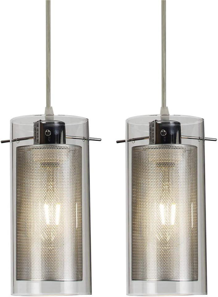 COTULIN Set of 2 Modern Living Room Bedroom Glass Pendant Light,Pendant Light Fixture with 2-Layer Glass and Metal Shade for Kitchen Hallway Bar
