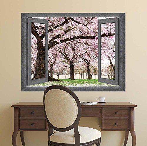 Open Window Creative Wall Decor View onto a Beautiful Cherry Blossom Garden Wall Mural