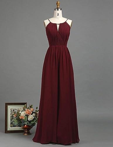 33c191f25bbd Amazon.com: Burgundy Chiffon Long Bridesmaid Dress with Ruched V Neck And Halter  Adjustable Strap Maxi Dress Empire Waist: Handmade