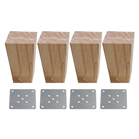 60 x 60 x 120 mm, madera natural, forma trapezoidal, sofá, patas ...
