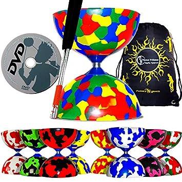 Jester Juego de diábolo profesional (8 diseños) con palos de ...