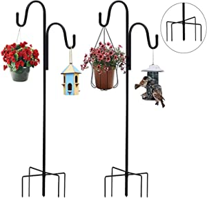 SOKLIT 2 Pack Shepherd Crook Hooks with 5 Prong Base, 120cm/47 Inch Double Adjustable Shepherds Hooks for Bird Feeders, Christmas Lights, Flower Ball, Plant and Christmas Decorations