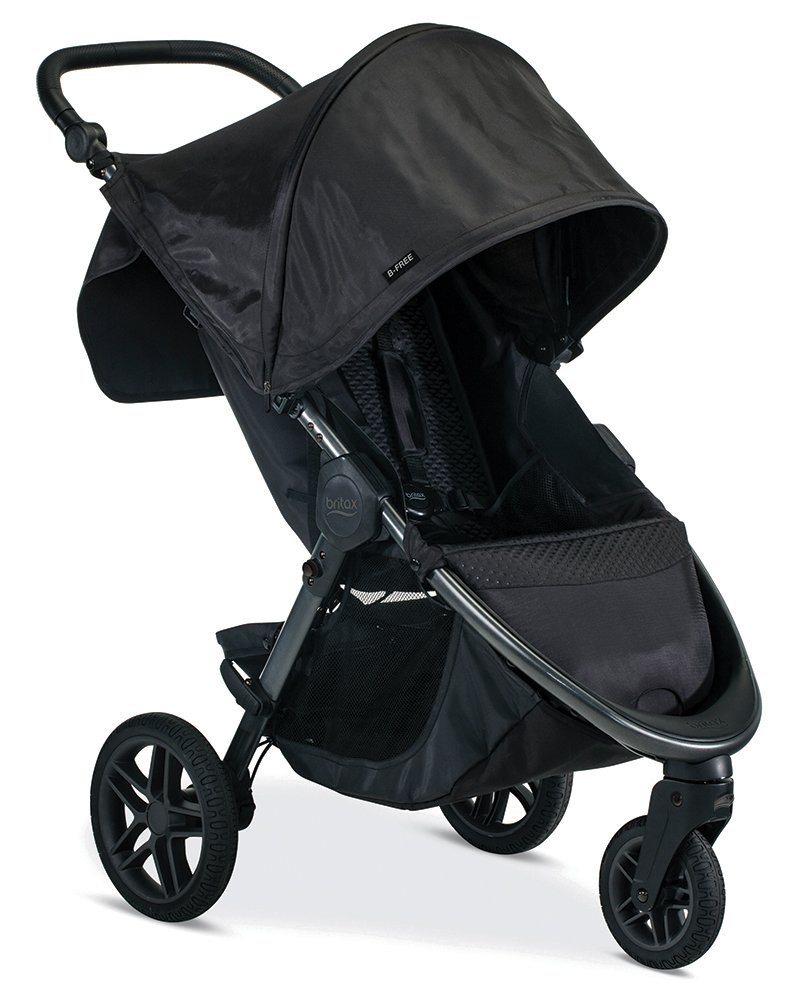 Britax B-Free Stroller, Midnight | All Terrain Tires + Adjustable Handlebar + Extra Storage with Front Access + One Hand, Easy Fold