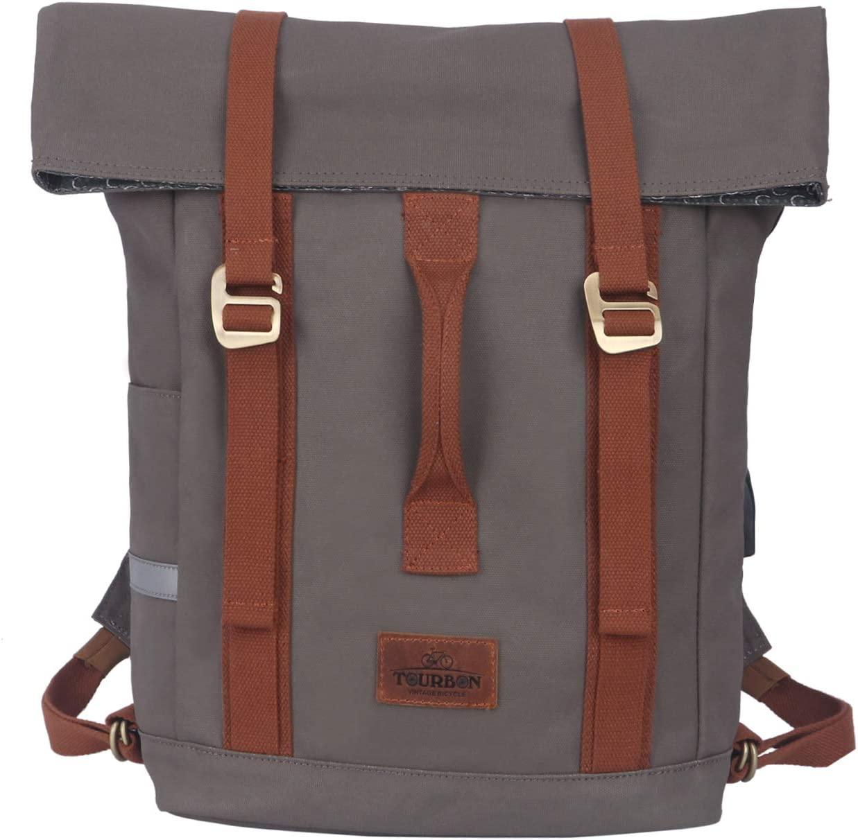 TOURBON Water-Resistant Canvas Laptop Bag Bike Messenger Pannier Backpack Shoulder Briefcase