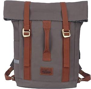 TOURBON Water-Resistant Canvas Laptop Bag Bike Messenger Pannier Backpack Shoulder Briefcase