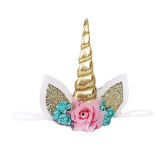 Amazon.com  Mwfus Cute Unicorn Horn with Flowers Ears Headband Xmas ... a6d04dabbeb