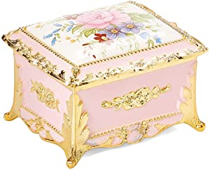 Classic Floral Rectangular Shaped Music Box playing Music of the Night