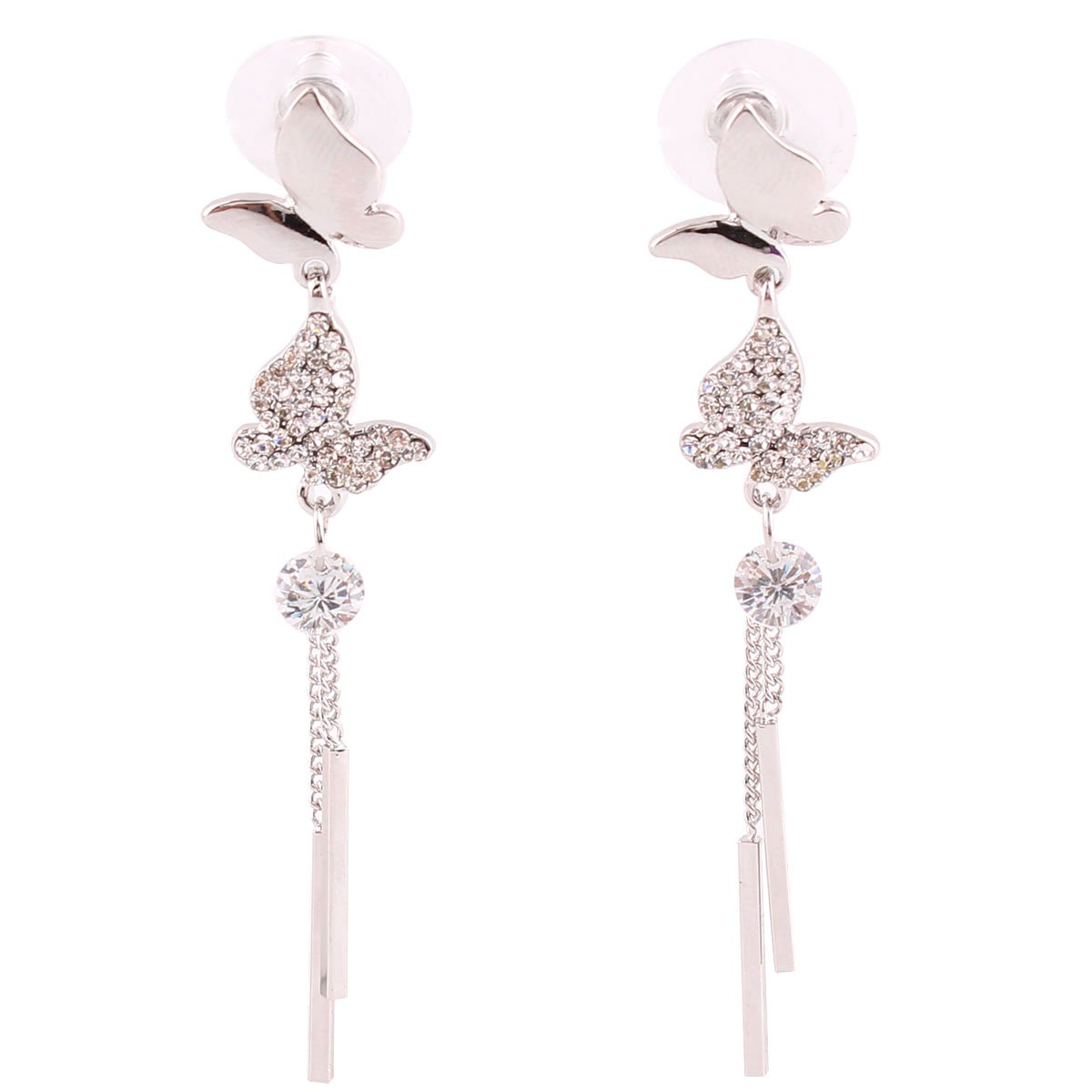 Grace Jun Luxury Bridal S925 Sterling Silver AAA CZ Long Drop Earrings With Butterfly Clip on Earrings (S925 Platinum plated)