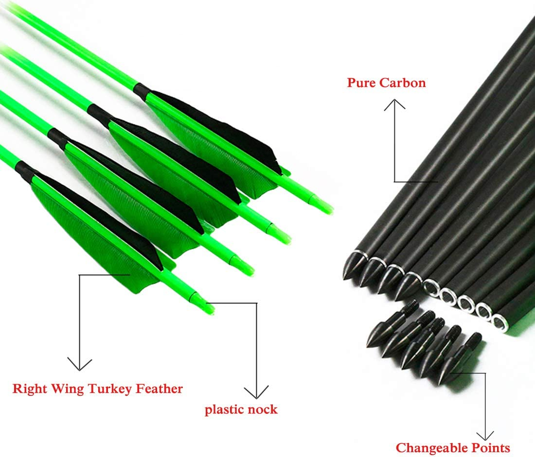 Linkboy Archery Carbon Arrows Hunting Practice Target Arrows Fluorescent with Removable Tip for Compound Recurve Long Bows, Spine 300 340 400 500 600, Pack of 6/12PCS : Sports & Outdoors