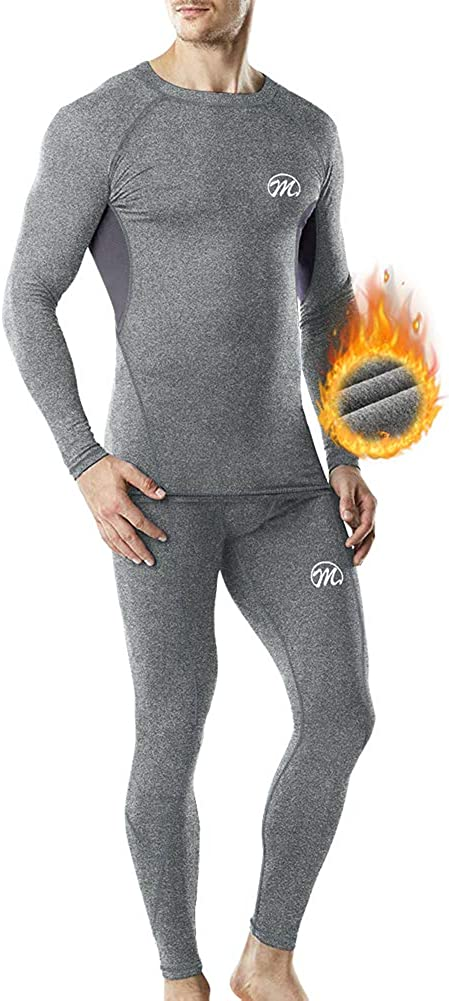 MEETWEE Conjuntos térmicos Hombre, Manga Larga Camiseta Térmica Pantalones Largos Base Layer Thermo Function Ropa Deportiva de Invierno para Running Ciclismo Esquí