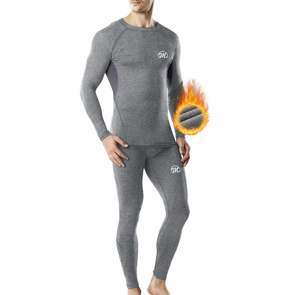 MEETWEE Thermal Underwear for Men, Winter Base Layer Set Tops & Long Johns Compression Wintergear for Heat Retention Gray by MEETWEE