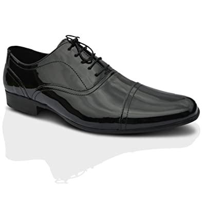 2685a639135 Red Tape Mens Black Patent Leather Lace Up Smart Oxford Round Toe Formal  Shoes UK Size