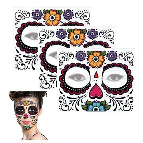 Sugar Skull Temporary Tattoo Floral Design (3 Tattoo Kits) (Tattoo Skull Face)