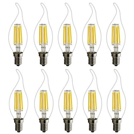 Lámpara de vela led filamento E14 C35L, lámpara de hilo, clásico retro, bombilla led como bombilla émbolo, 6W 450 lúmenes, equivalente a bombillas de ...