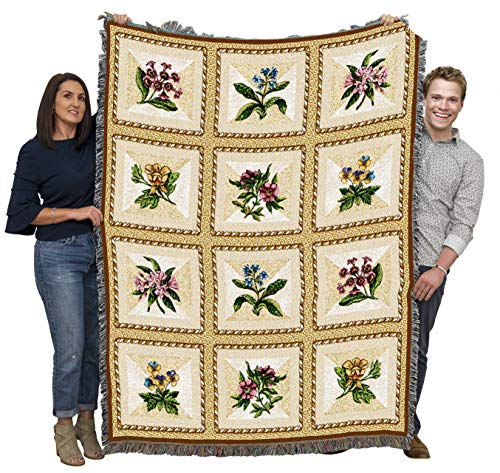 Pure Country Weavers | French Floral Flower Gift Woven Tapestry Throw Blanket with Fringe Cotton USA 72x54 from Pure Country Weavers
