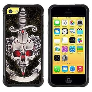 Suave TPU GEL Carcasa Funda Silicona Blando Estuche Caso de protección (para) Apple Iphone 5C / CECELL Phone case / / Rock Roll Fire Dagger Skull Death Music /