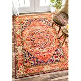 nuLOOM Traditional Flower Medallion Orange Rug (3  x 5 )