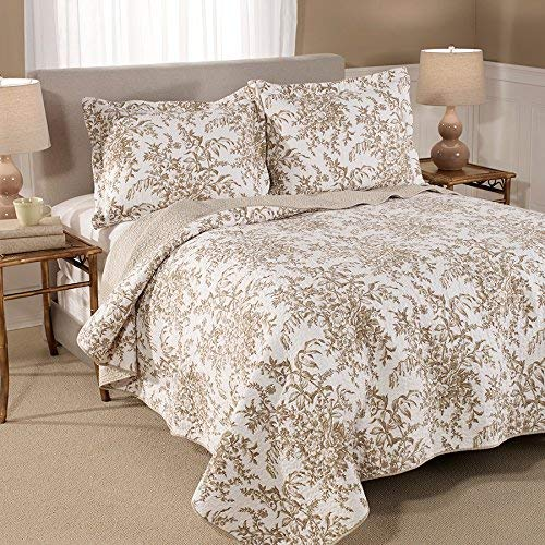 Laura Ashley Bedford Cotton Reversible Quilt Full/Queen Mocha