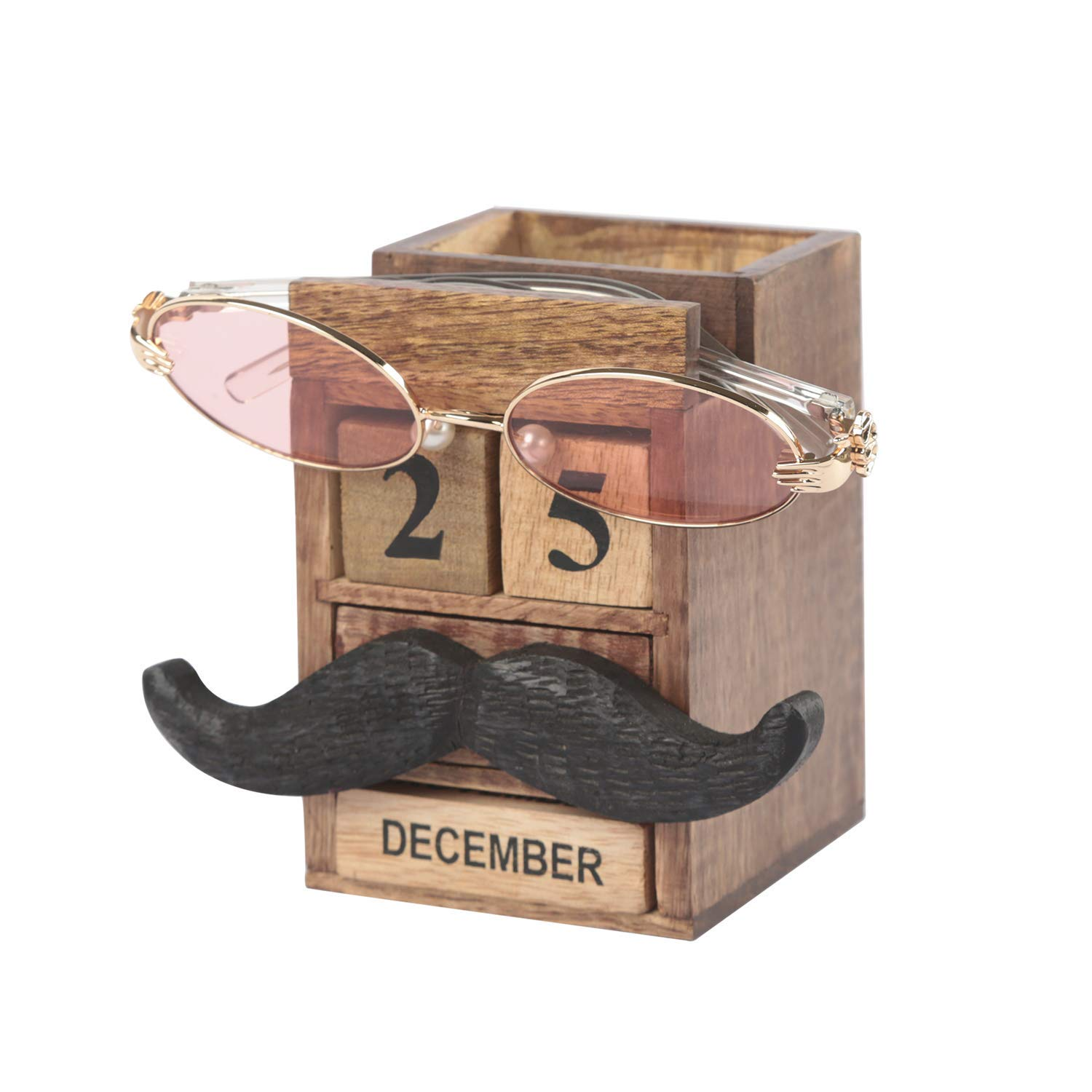 storeindya Gifts Wooden Eyeglass Holder Block Calendar Spectacle Stand Desk Organizer Stationery Display Rack Multi Utility Home Decoration Mothers Day
