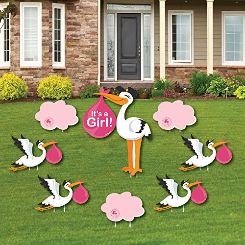 Girl Special Delivery - Baby Announcement Yard Sign & Outdoor Lawn Decorations - Pink It's A Girl Stork Baby Shower Yard Signs - Set of 8 -
