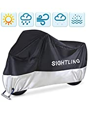 """Motorcycle Cover, SIGHTLING All Season 210D Waterproof Motorbike Covers with Lock Holes, Fits up to 96.5"""" Motors, for Honda, Yamaha, Suzuki, Harley,96.5 x 41x 50 inch"""