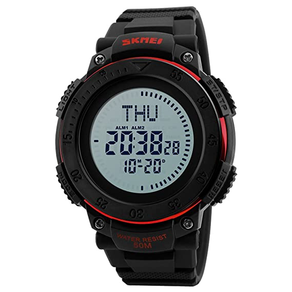 Deportes militar reloj digital inteligente supervivencia brújula led pantalla mundo tiempo cara grande 50m cronómetro resistente al agua alarma reloj de ...