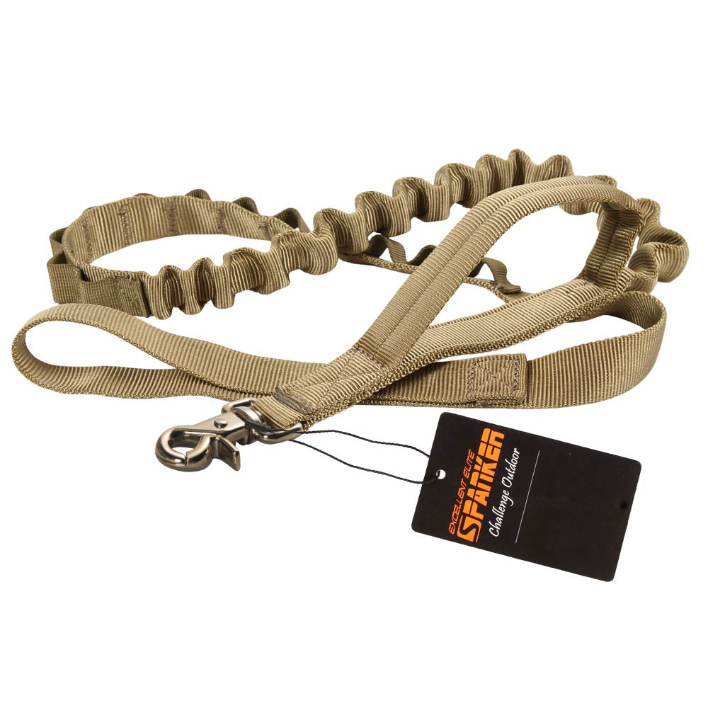EXCELLENT ELITE SPANKER Tactical Bungee Dog Leash Military Adjustable Dog Leash Quick Release Elastic Leads Rope with 2 Control Handle(Coyote Brown) by EXCELLENT ELITE SPANKER