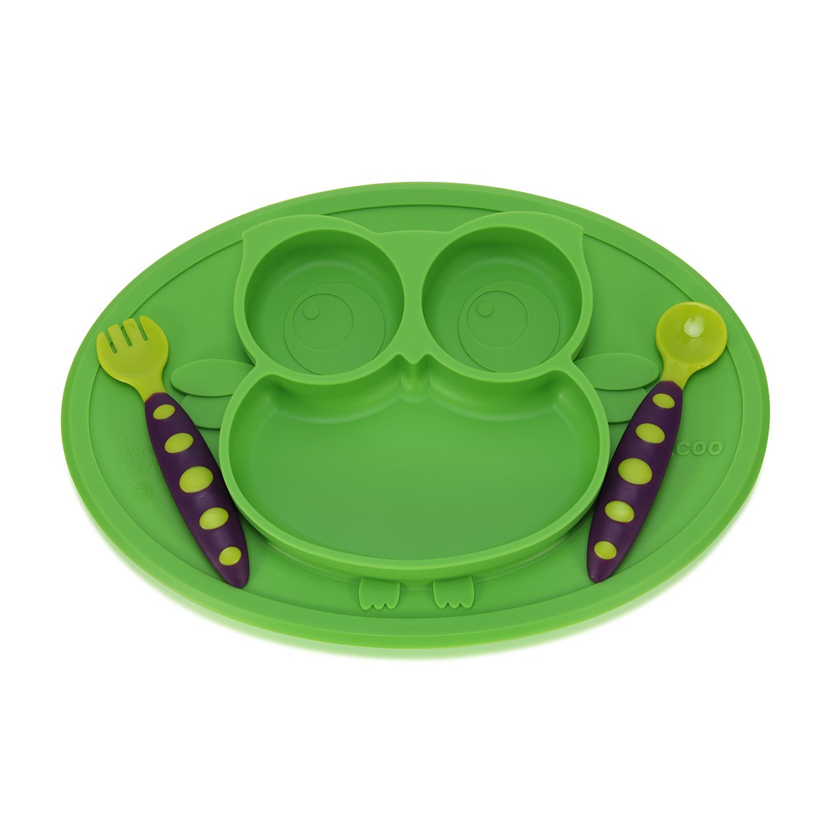 Baby Silicone Placemat Feeding Set Kirecoo Owl Plates Built in Plate and Bowl + One Utensil Baby Fork and Spoon Set with Travel Case for Early Promotes Independence (Green)