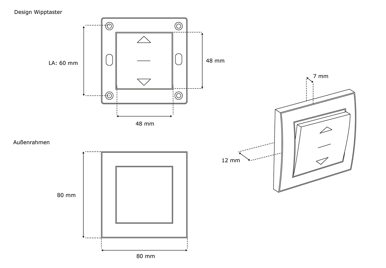 JAROLIFT Design Wipptaster Typ 2 inkl. Außenrahmen - 3er Pack ...