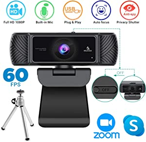 2020 Streaming 1080P 60FPS Webcam with Microphone, Built-in Privacy Cover and Tripod, NexiGo Pro USB HD Computer Web Camera w/Mic Video Cam for Skype Zoom Gaming Conferencing, Mac PC Laptop Desktop