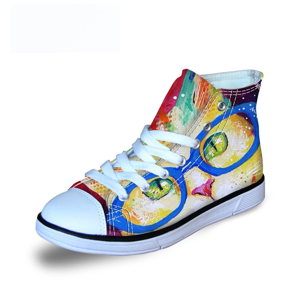 FOR U DESIGNS Cute Cat Print Girls Fashion Sneakers Lace-up Canvas Shoes US 3