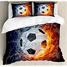 Sports Decor Queen Size Duvet Cover Set by Ambesonne, Soccer Ball on Fire and Water Flame Splashing Thunder Lightning Abstract, Decorative 3 Piece Bedding Set with 2 Pillow Shams