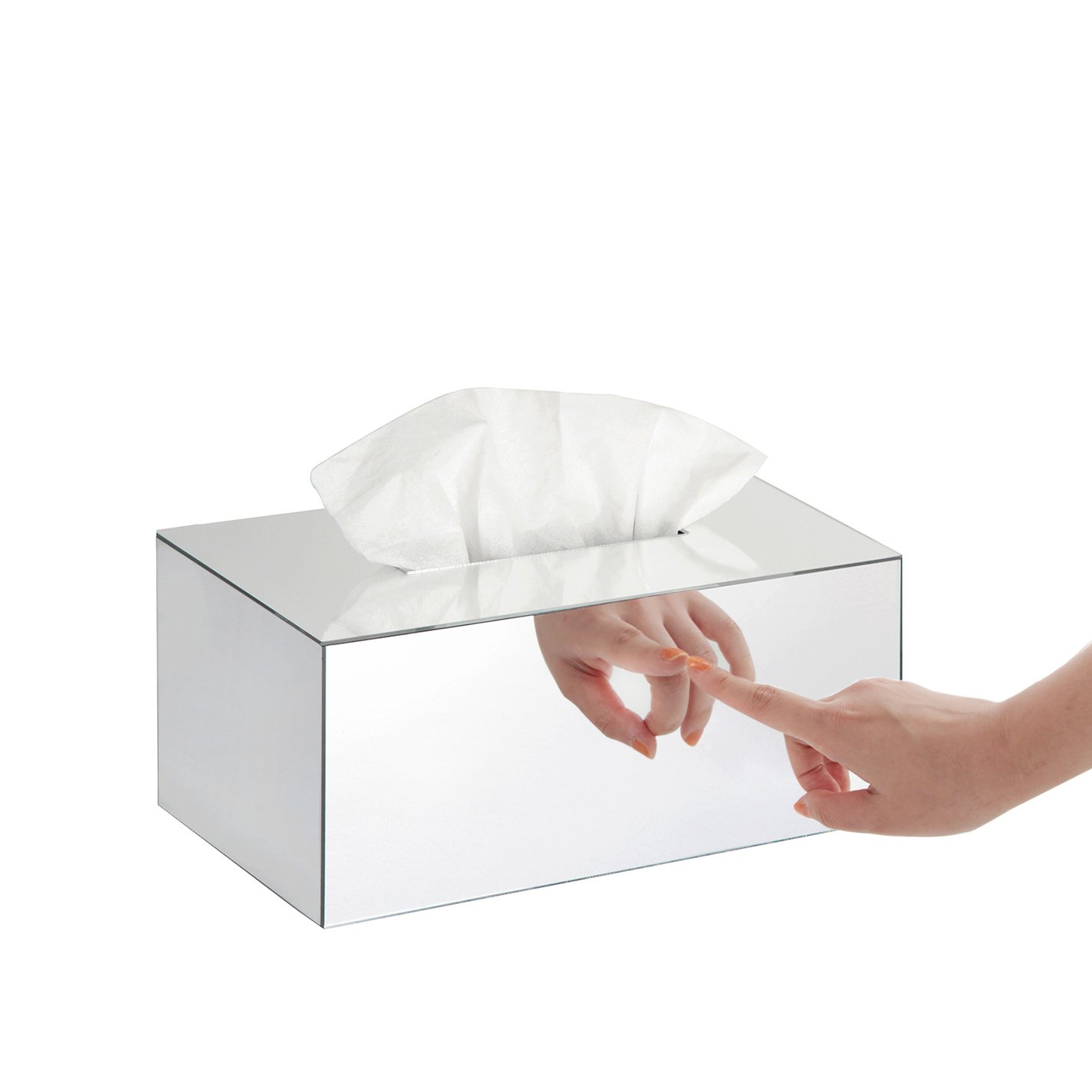J JACKCUBE DESIGN JackCubeDesign Overall Acrylic Mirror Rectangle Tissue Box Holder Case Kleenex Storage Case Stand Box Napkin Holder Organizer (9.53 x 5.63 x 4.33 inches)- :MK219B by J JACKCUBE DESIGN