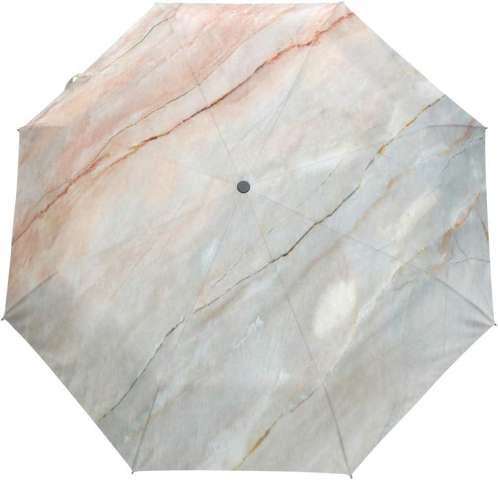 SUHETI Paraguas automático de Apertura/Cierre,Onix Stone Textured Natural Destacado Auténtico Rasguños Ilustración Artística,Paraguas pequeño Plegable a Prueba de Viento